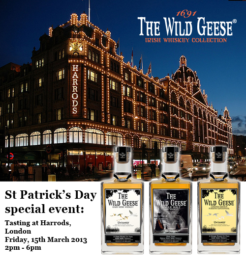 The Wild Geese Irish Whiskey tasting at Harrods, London. St Patrick's Day Special