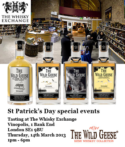 The Wild Geese Irish Whiskey tasting at The Whisky Exchange, Vinopolis, London. St Patrick's Day Special